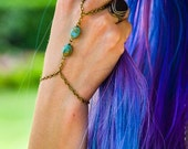 CLEARANCE SALE Hand Chain Bracelet Piece Bronze Chain Boho Bohemian Two Ultramarine Turquoise Stone Beads Jewelry BRMiaTQ