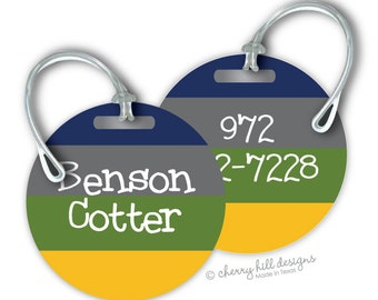 ROUGH N TUMBLE Round premium bag tags - 4 inch - click on image to enlarge - seen in Parents magazine and Family Fun magazine