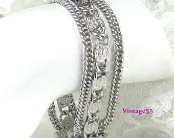 Bracelet Three strand Silver tone
