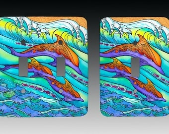 Dolphin Love Sealife Art, Switchplate, Lightswitch Cover, Lightswitch Plate