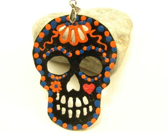 Sugar Skull Pendant Necklace, Hand Painted with Patina, Both Sides, Sugar Skull Jewelry