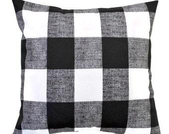 Black Buffalo Check Throw Pillow Cover, Black White, Premier Prints Anderson Black 16x16, 18x18, 20x20