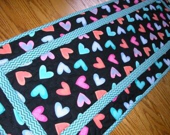 Quilted Table Runner, Modern Valentine Runner, Pink, Peach, Blue, and Aqua, 14  x 40 inches