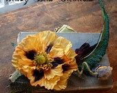 Golden Plum Poppy - ATS Tribal Belly Dance Hair Art Fascinator Clip