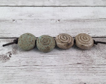Handmade Ceramic Beads - Coin Beads - Spiral Beads - Jewelry Supplies - Ready to Ship - Made by Marsha Neal Studio