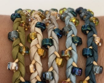 DIY Silk Wrap Bracelet or Silk Cord Kit DIY Bracelet DIY Craft Kit You Make Five Adult Friendship Bracelets in Blue Gold Boho Palette