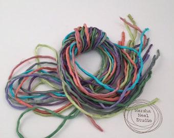 Silk Ribbon Cord Bundle Item No.364 Contains Ten 2mm Silk Ribbons Random Colors