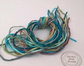 Silk Ribbon Cord Bundle Item No.398 Contains Ten 2mm Silk Ribbons Random Colors