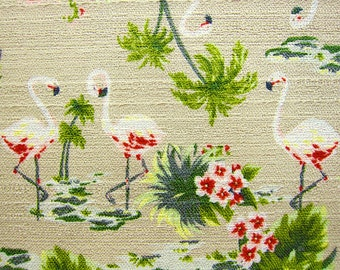Animal Print Fabric - Japanese Fabric Textured Cotton - Flamingos on Khaki - Fat Quarter
