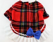 Dog Fleece Sweaters Classic Red Plaid print