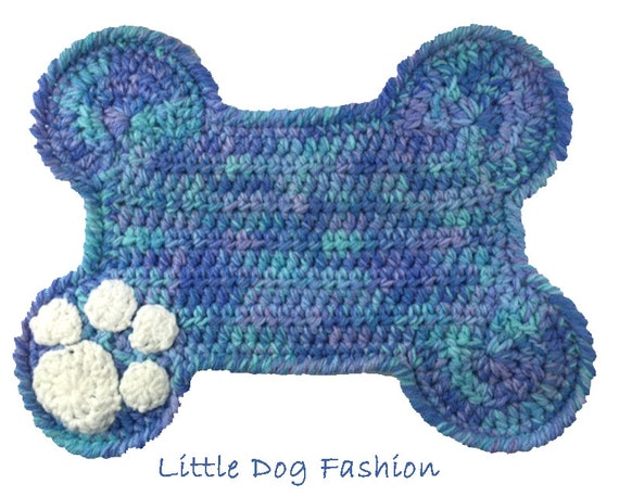 Free Crochet Pattern For Dog Bone Mat : Feeding Mats for Dogs Crochet Dog Bone blue by ...