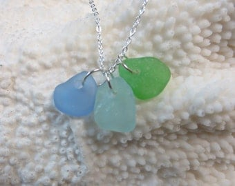 Genuine cornflower, aqua and lime sea glass charm and sterling silver chain necklace