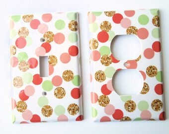 Switchplate in Coral Gold Mint,  Polkadots Switchplate, light Switch Cover, Rocker Cover, electrical outlet, Nursery Decor