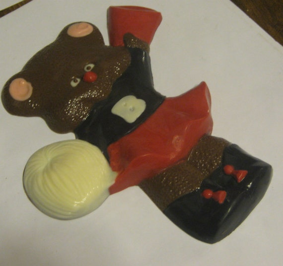 Solid chocolate cheerleader teddy bear candy or cake topper
