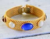 Mesh Jeweled Gold Tone Bracelet Vintage