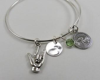 Love & Protection Bangle, Adjustable Bangle Bracelet, Gift for Her, Personalized Bangle, Silver Bangle, Charm Bangle, Mom Jewelry