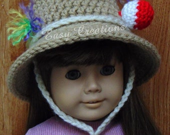 CROCHET PATTERN 18in Doll Bucket Fishing Hat, brimmed hat, sun hat, doll hat