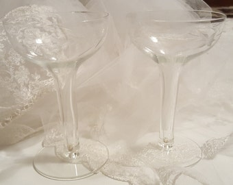 Wedding Bells Crystal  Hollow Champagne Glasses, set of 2 For the BRIDE and GROOM Wedding  DiY Decor