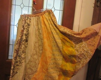 Women's size small to Plus size 1XL, 2XL,3XL light Earthy colored beige gold  print  skirt gored swirl fun