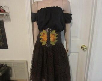 Brown Waist Cincher S-M-L-XL- plus size Underbust Renaissance leaf earth fairy  Costume Belt Embellished
