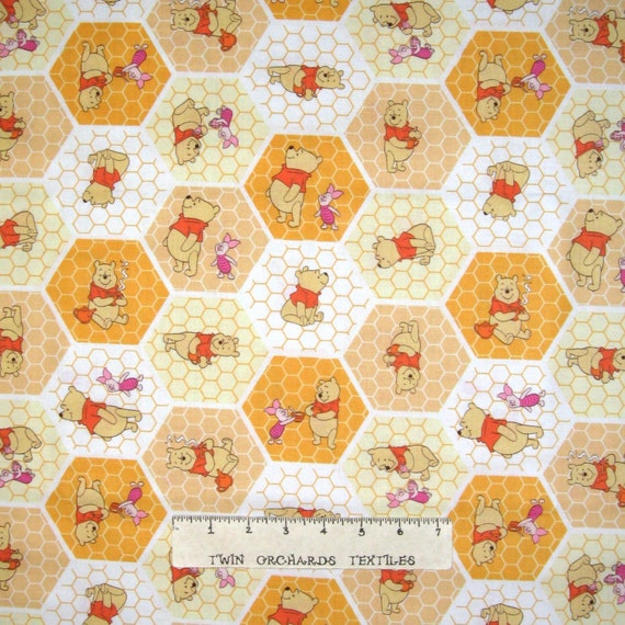 Winnie the pooh nursery baby fabric honeycomb hexagon for Yellow nursery fabric