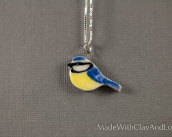 Little Porcelain Blue Tit Bird Sterling Silver Necklace - Miniature Tiny Ceramic Animal Nature Handmade Jewelry