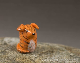 NEW Little Brindle Greyhound - Hand Sculpted Miniature Polymer Clay Dog Animal Miniature Figurine