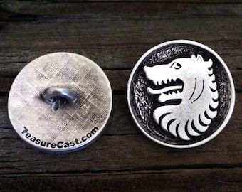 Medieval Wolf Pewter Shank Buttons 1 Inch (25 mm)