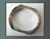 SOLID-Slim Modernist Sterling Silver Hinged Bangle Bracelet for Small Wrists,Good Weight,Spain,Vintage Jewelry,Women