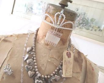 Vintage Tiara * Bride * Wedding * Lace Veil * Aurora Borealis Beads * Pearls