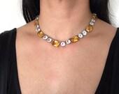 ANTIQUE PASTE CITRINE Art Deco sterling silver choker crsytal glass vintage necklace circa 1920