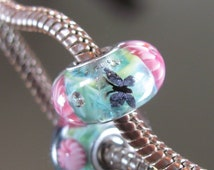 "Tangled Sky Glass GLOW In The DARK ""Butterfly Garden"" #11 Fully Sterling Silver Lined Lampwork Charm Bead"