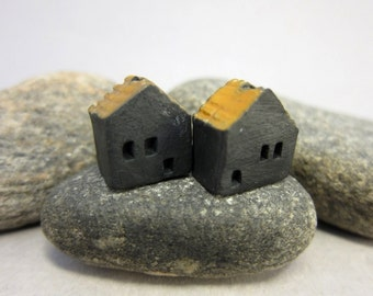 Halloween Cottage...Naked Raku House Beads...Set of 2