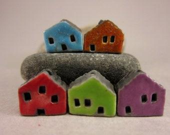 5 Saggar Fired Miniature House Beads...Turquoise Sunset Orange Red Green Purple
