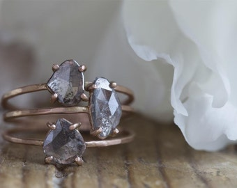 Natural Black Diamond Slice Stacking Rings- Set of Three