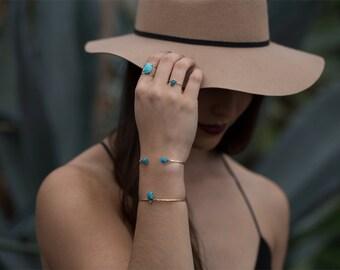 Turquoise + Diamond Cuff Bracelet