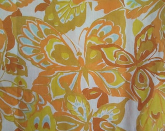 Vintage Mustard Yellow Orange and Gold Butterfly Butterflies Twin Flat Sheet