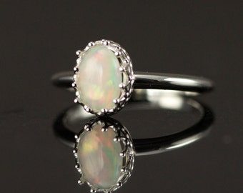Ethiopian Opal Ring -  6x8 mm Genuine Opal Sterling Ring - Untreated Opal Ring