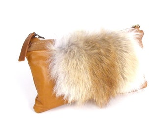 Coyote Fur Clutch ~ Coyote and Leather Bag ~ Brown Fur Bag~ Tan Leather Clutch ~ Zippered Fur Clutch ~ Fur Crossbody ~ Trendy Fur Clutch