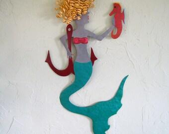 Metal Wall Art Mermaid Sculpture Blonde Mermaid Seahorse Anchor Beach House Coastal Decor Teal Red Recycled Metal Indoor Outdoor 12 x 22