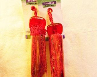 "Pair Red Beaded Tassels Key Tassels Wrights Trim Glass Bead Tassels Trading Spaces Trim 4"" Long"