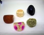 Lot of Five Rings - Plastic/Resin/Lucite  - Gold Flecks, Rose, Carved Rose, Black Faceted