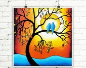 Orange and Blue Tree of Life Fall Decor, Love Birds Art Print Couples Gift, Landscape Print Autumn Decor