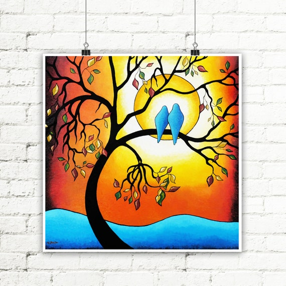 Orange Blue Decor Love Birds Art Print, Tree of Life Wall Art, Fall Landscape Romantic Gift for Couples