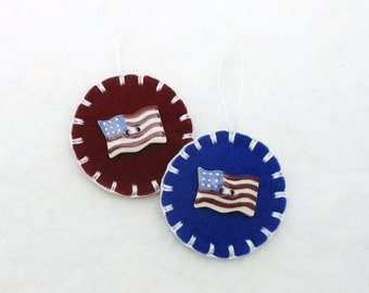 Hand Sewn Patriotic Ornaments with Porcelain Buttons- Set of 2