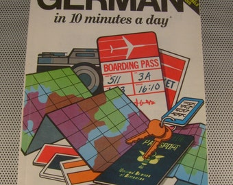 "Vintage 1981 ""German in 10 Minutes a Day"" Learning German Language Softcover Book by Cliff Notes"