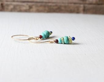 Turquoise, Garnet, Lapis, and Peridot Gold Earrings