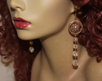 Exotic, Sensual, Bridal, or Special Occasion Earrings. High Quality, Gold Filigree Medallions with Long Crystal Dangles. Sparkling Beauties