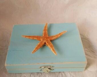 Beachy Coastal Nautical Shabby Chic Rustic Divided HIS/HERS Wedding Ring BOx Gift Box Trinket Box Wedding Decor