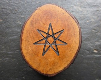 Natural Wood Double-Sided Altar Talisman - Hawthorn - Faery Star/Pentacle.